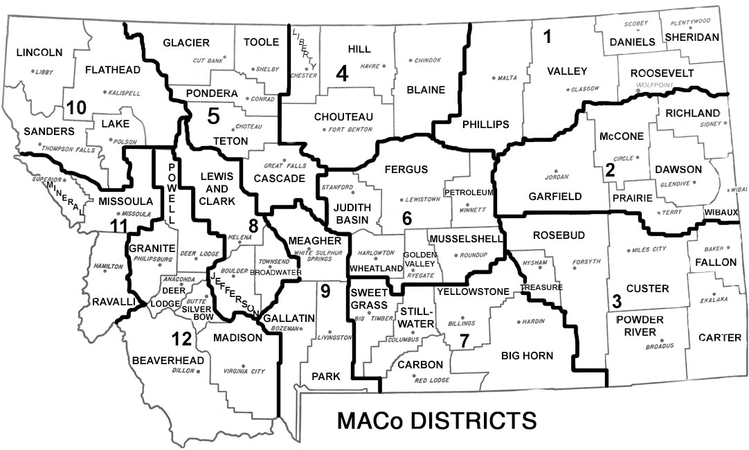Montana State Map With Counties.Maco District Meetings