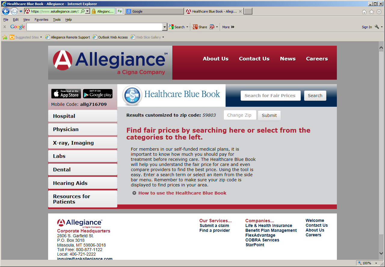 Find a Provider - Allegiance Website